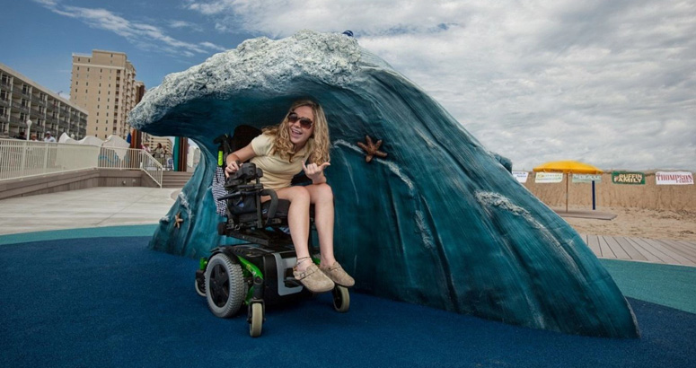 Riding the Waves in a Wheelchair at JT's Grommet Island Beach Park - slideshow version