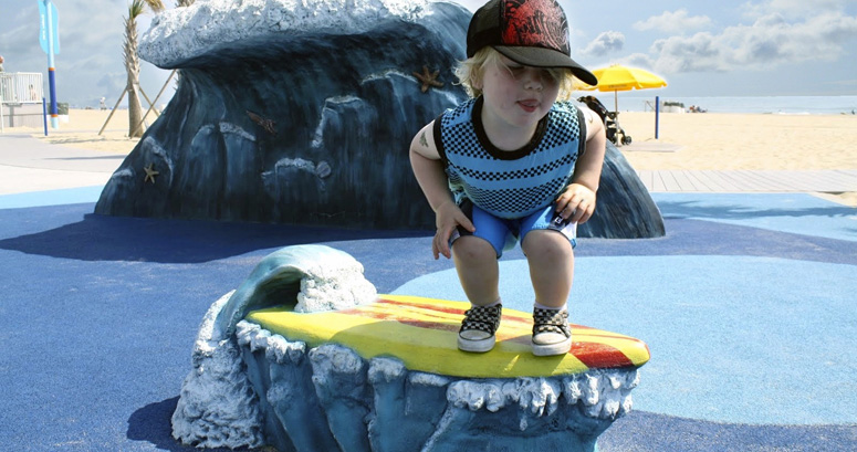 Boy Surfing at JT's Grommet Island Beach Park - slideshow version