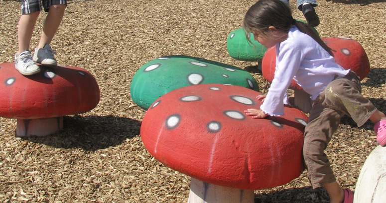 Kids Playing on Mushroom Steppers at Brumble's Forest - slideshow version