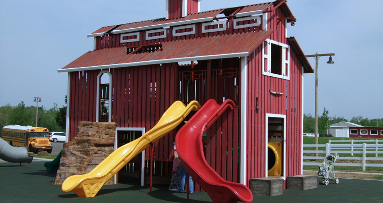 Yellow and Red Slides at Rutledge Wilson Farm Barn Park - slideshow version