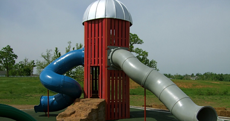 Silo Tube Slides at Rutledge Wilson Farm Barn Park - slideshow version