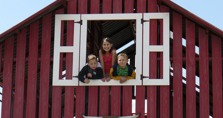 Kids Looking Out the Window at Rutledge Wilson Farm Barn Park - slideshow version