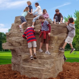 Kids playing on the strato rock climber