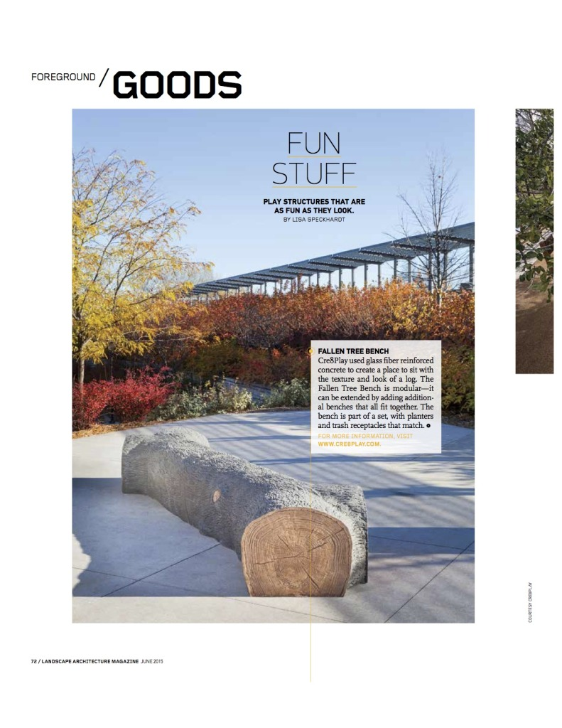 lam landscape architecture magazine features modular seating cre8play